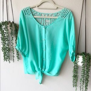 Francesca's Embroidered Mint Green Blouse, Medium
